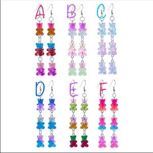 Jewelry - ✨2/$25✨NWT HERE Triple gummy bear dangle earrings